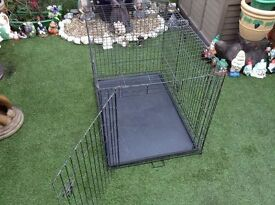 """42"""" Large size dog Foldable cage for sale, plastic tray in the bottom for easy clean, and pulls out."""