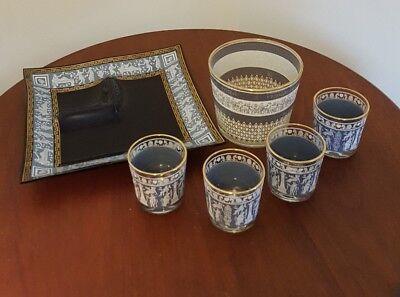 Cera Barware Set Blue Ice Bucket 4 Hi Ball Serving Tray Greco Roman Greek Key
