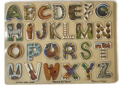 Melissa & Doug Alphabet Art Wooden Jigsaw Puzzle 26 Pieces Hidden Pictures Under Alphabet Art Puzzle