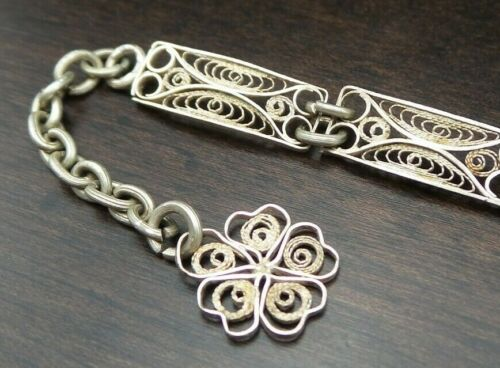 Beautiful Vintage Handmade Sterling Silver Designer Filigree Panel Bracelet