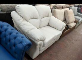New White/Off White Leather 2 seater sofa