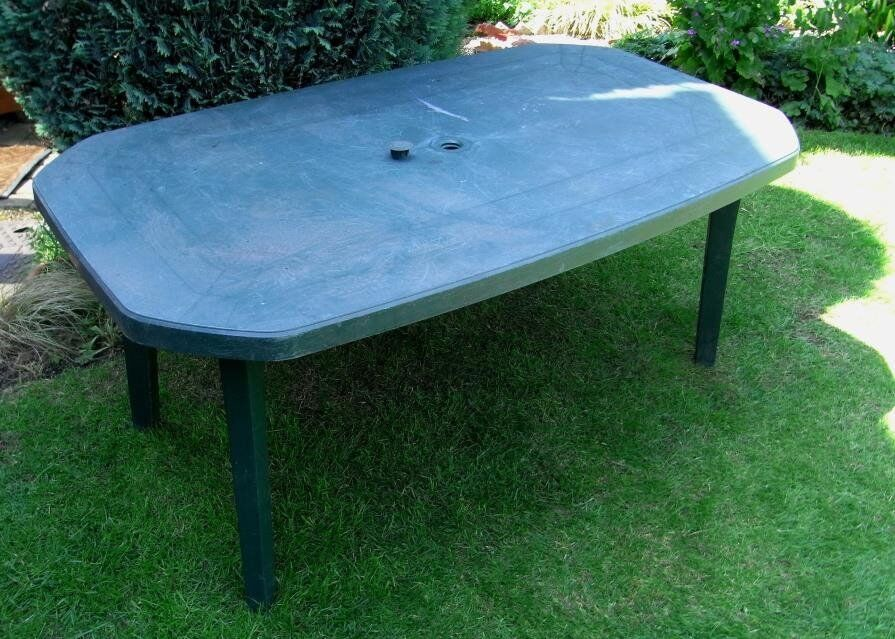 Well Used Large Green Plastic Garden Table Free