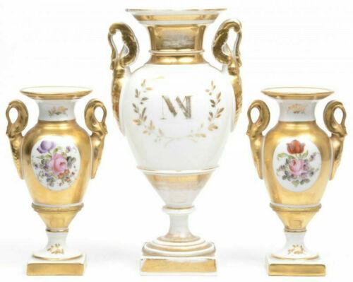 Set 3 antique vieux paris porcelain VAses Swan figurine handles