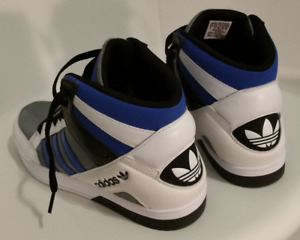 White/Blue Adidas High Top Size 9