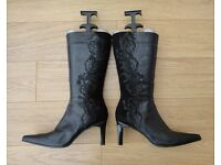Clarks Women's High Heel Knee High Boots Black Leather & Suede, Size UK 8