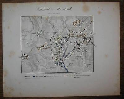 c1840 Zweiter Koalitionskrieg Meßkirch Sigmaringen Kolorierter Kupferstich-Plan