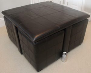 Faux Leather Coffee Table with Pull Out Seats