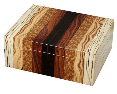 Unique Wood Combination Cedar Lined 50 Cigar Humidor W/ Digital Hygrometer
