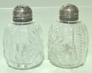 Antique Sterling Silver Lidded Muffiner Sugar Shaker Cut Glass