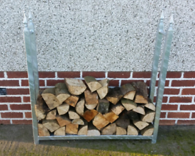 Galvanized log store fire wood holder
