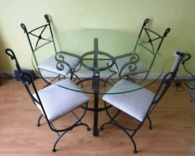 Forged iron table with 4 chairs