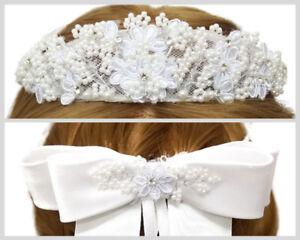 White Flower Girl Wreath First Communion Floral Headpiece Halo Tiara Crown
