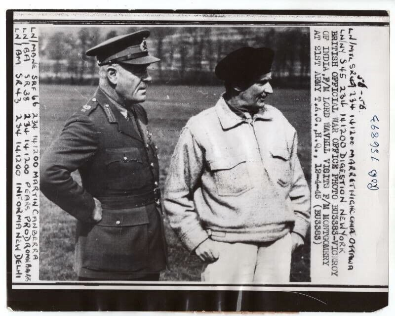 1945 Wavell Meets Montgomery at 21st Army Group HQ Original News Radiophoto