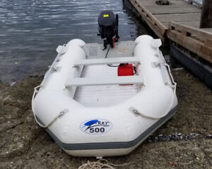 Z-Ray 500 11 ft dinghy with el mot Endura 30&Coleman 9.8hp