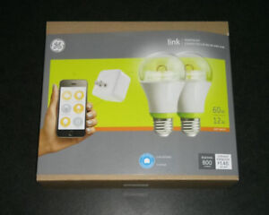 GE Link Starter Kit, 1 Hub and 2 A19 Light Bulbs