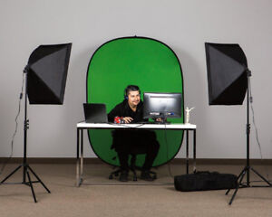 Pro Continuous Softbox Lighting Kit + Portable Green Screen