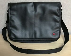 "Swiss Black Leathe Laptop Bag (fits up to 16"" notebook computer)"