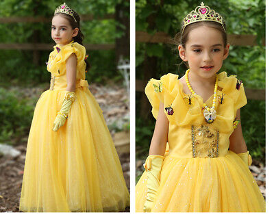 Beauty And the Beast Girls Princess Belle Party Dress kids Costume Dress Up ZG8