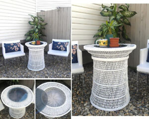 Gorgeous! Refinished White Wicker BISTRO Table with Glass Top
