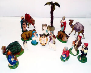 Nativity Scene Vintage 60+ years Hand Painted 18 pc.