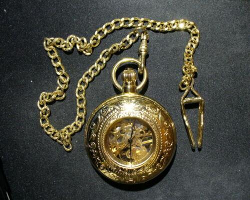 Mechanical Gold Tone Skeleton Pocket Watch