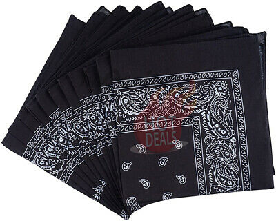 Lot of 3 PCS Black Bandana Wrap Head Paisley Scarves 100% Cotton