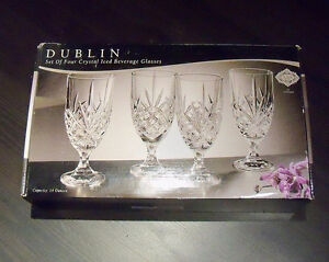 SET OF 4 DUBLIN CRYSTAL Iced Beverage Glasses - NEW IN BOX
