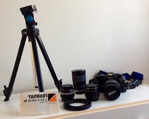 Caméra Nikon FE 35 mm Reflex et lentilles
