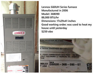 Lennox natural gas furnace for sale