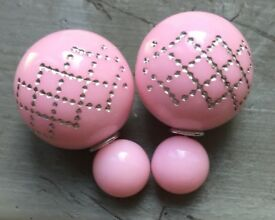 Women's Gold Plated Pink Double Ball Stud Earrings.