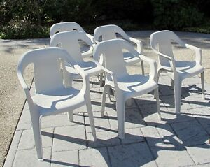 Six Stacking Resin Outdoor Chairs – Good Condition