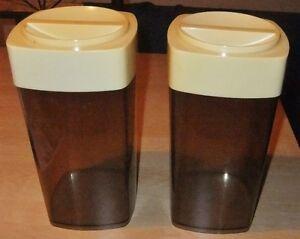 BOITES SUCRE FARINE set (2) JARRES vintage Canisters sugar flour