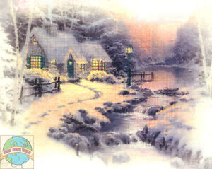 Cross Stitch Kit ~ Thomas Kinkade Evening Glow Sunset #51434