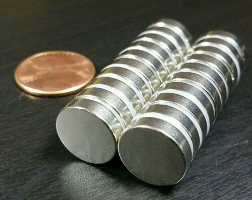 """20 Large Neodymium N52 disc magnets. Super Strong Rare Earth 1/2"""" x 1/8"""""""