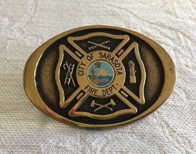 Vintage Solid Brass Belt Buckle Fire Dept. City of Sarasota FL. TBW Industries
