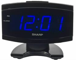 Black Large Digital Alarm Clock SHARP Blue LED Display Electric Beep Snooze NEW