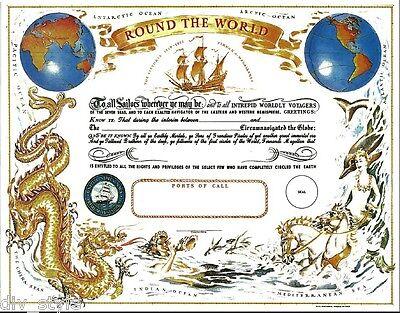 Round the World Certificate blank mint  US Naval Institute Magellan