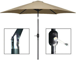 9 ft Aluminum Outdoor Patio Garden Umbrella Market Yard Beach Crank Tilt - TAN