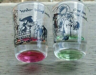 Vintage Cowboy Western Glass Shot Glasses ~ One for the Road & Never Drink Water