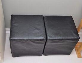 2 Ikea black faux leather cube foot stools