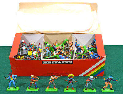 48 Britains Deetail Dismounted Cowboys 7650 mint in their counter pack box