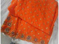 Orange Heavy Embroided Sari