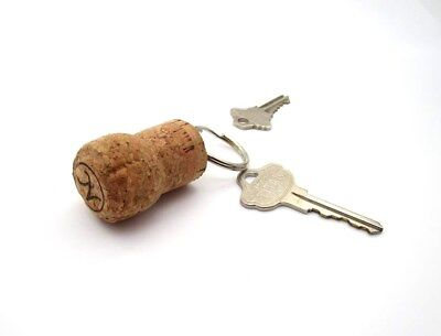 - CHAMPAGNE NATURAL CORK Key Ring  1 1/8 Inch Ring ~ Re-purposed Cork Floats ~ One