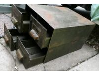 2 sets off double Industrial metal drawers