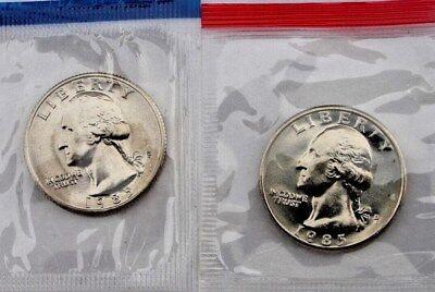 Washington Set - 1985 TWO COIN SET BOTH P&D MINTS WASHINGTON QUARTERS BU IN US MINT CELLO WRAP