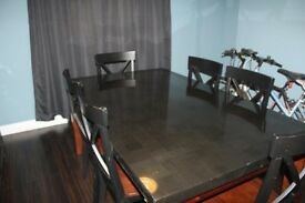 Marble top dining table and 6 chairs