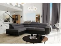 SOFA, ANTON PU LEATHER FABRIC CORNER SOFA BED STORAGE BLACK / GREY WHITE AVAILABLE IN STOCK