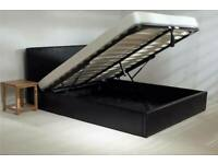 🔴DISCOUNT SALE PRICE🔵4ft6inch Double & 5ft King Size Leather Storage Bed Frame With Opt Mattress-