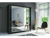 🌸Furniture On Sale 🌸 BERLIN 2&3 SLIDING DOORS FULL MIRROR WARDROBE IN 5 SIZES & IN MULTI COLORS🌸