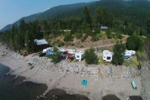 RV Site on Kootenay Lake, fully serviced, waterfront